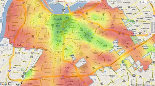 Walkability index in Louisville (via Walkscore)