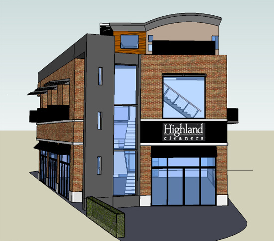Rendering of the Highland Green Building (Courtesy Design Plus)