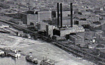 LG&E photo–ca. 1922, Power Station, Riverfront and Elevated Line