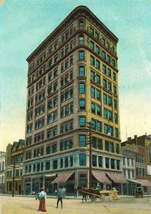 Now-demolished Todd Building at Fourth & Market Streets (BS File Postcard)