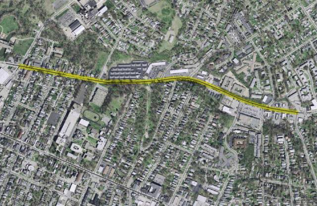 Brownsboro Road Diet in yellow (Map via Lojic)