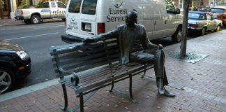 Statue of former Mayor Farnsley on West Main Street (Broken Sidewalk)