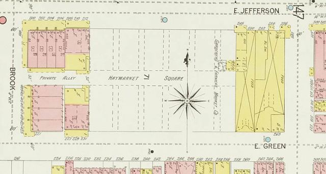 Haymarket site on Sanborn Map (Courtesy KYVL)