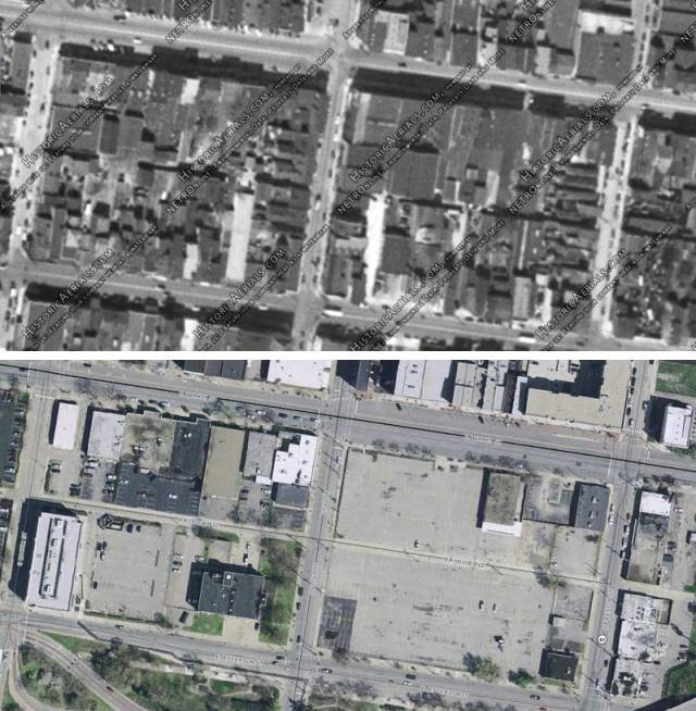 """The Nucleus """"Haymarket"""" site in 1949 and today (Historic Arterials & Lojic)"""