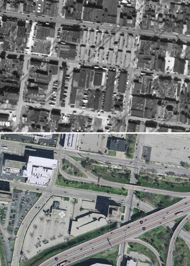 Haymarket and surroundings in 1949 and today (Historic Arterials & Lojic)