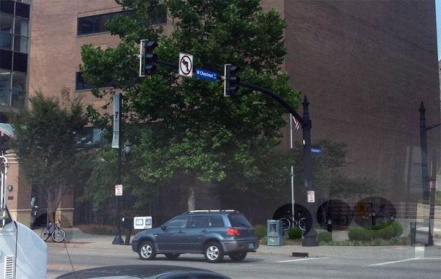 Bikes locked everywhere outside the Downtown Y. (Erik Weber)