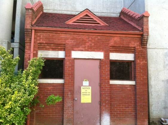 Brick utility sub-station on Armory Place could be demolished. (Courtesy Tipster)