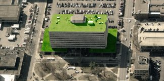 Green roof installed on the Mazzoli Federal Building. (Via Bing Maps)