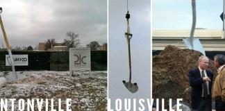 A giant shovel in Bentonville and Louisville. (Mark Cloud, left; Branden Klayko, right)