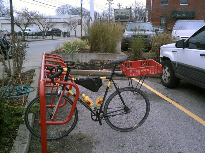 New bike parking on Frankfort Avenue. (Courtesy Green Triangle)