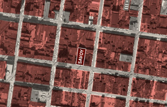 The Savoy Theater site showing the historic fabric that has been demolished in red. (Via Historic Aerials)