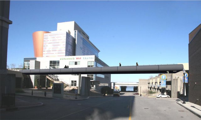 Pedestrian bridge over Sixth Street. (Courtesy Metro Louisville)