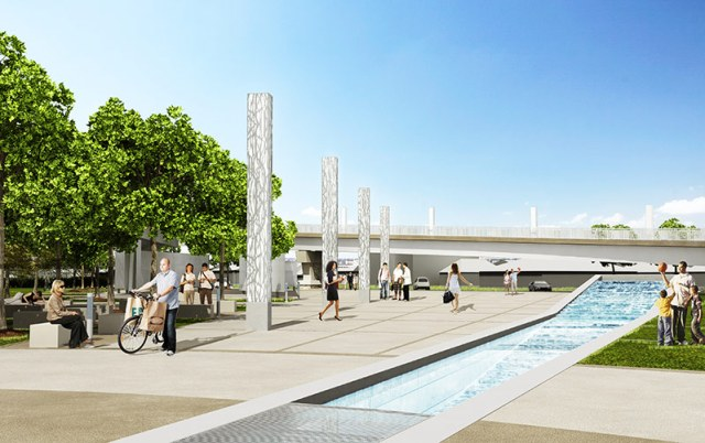 A cascading water feature at Big Four Station. (Courtesy The Estopinal Group)