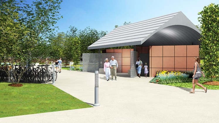 Bike rental and bathroom facilities at Big Four Station. (Courtesy The Estopinal Group)