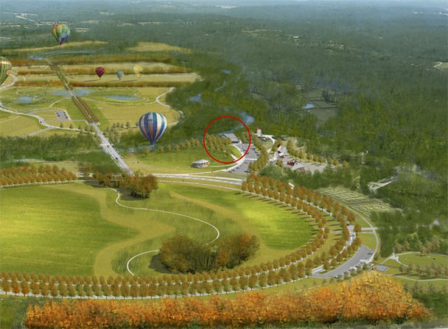 Rendering of Beckley Creek Park showing Gheens Pavilion. (Courtesy Parklands)