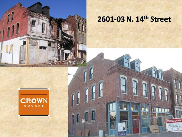 Before and after preservation in St. Louis. (Courtesy Crown Square)