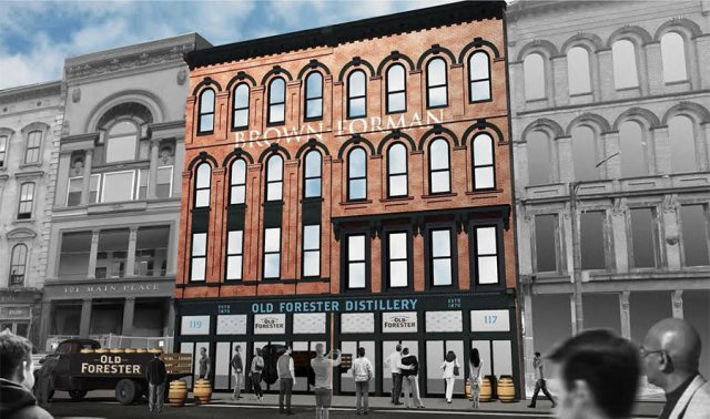 Conceptual rendering of the new Old Forester distillery on Main Street. (Courtesy Brown-Forman)