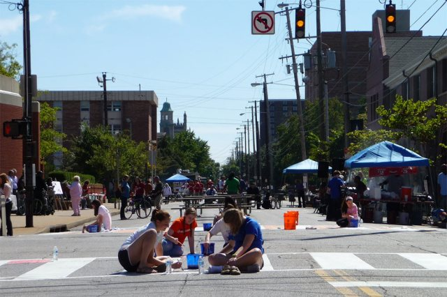 Fourth Street was turned into a pedestrian thoroughfare during the event. (Elijah McKenzie / Broken Sidewalk)