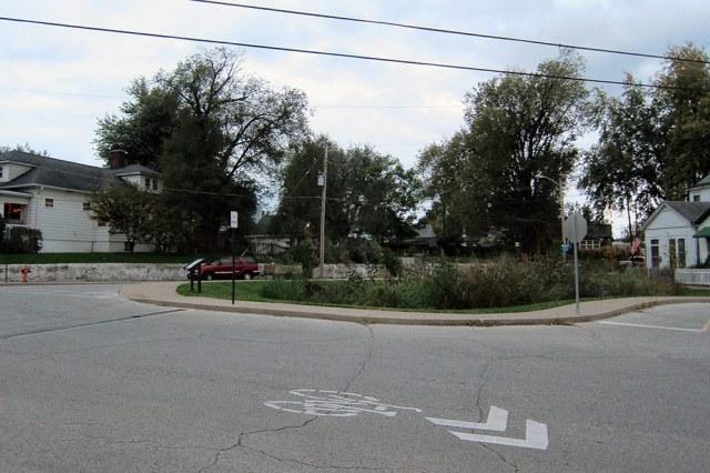 A rain garden was installed at a complex Louisville intersection. (Branden Klayko / Broken Sidewalk)