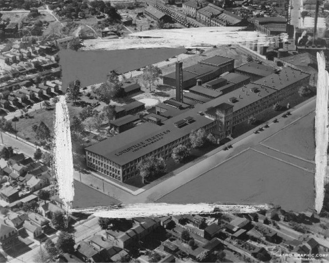 Aerial view of the former textile mill. (Courtesy UL Photographic Archives)