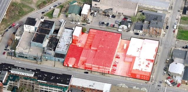 The Main & Clay site. (Courtesy Bing; Montage by Broken Sidewalk)