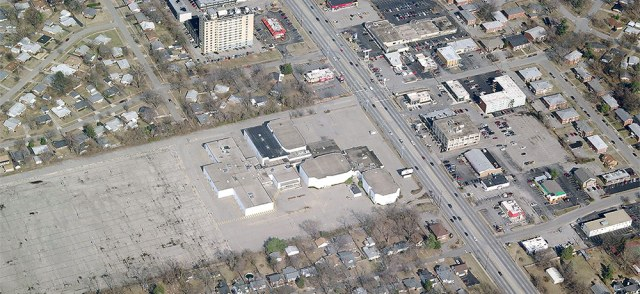 Aerial view of the Showcase Cinema site before the theater was demolished. (Courtesy Bing)