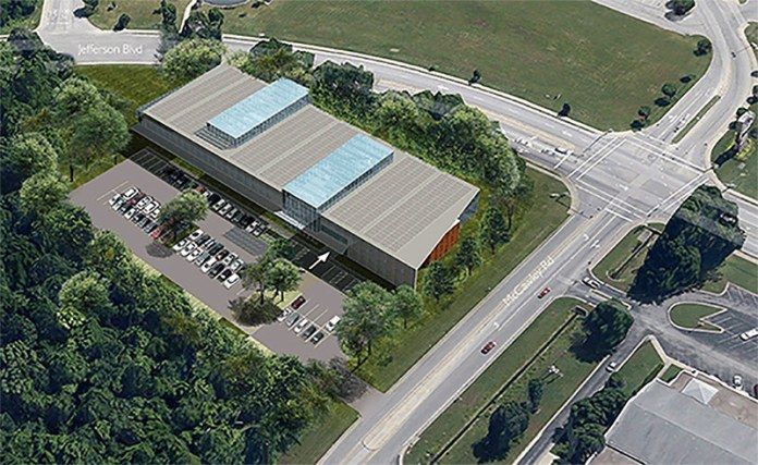 Aerial view of the planned South-Central Regional Library. (Courtesy LFPL)