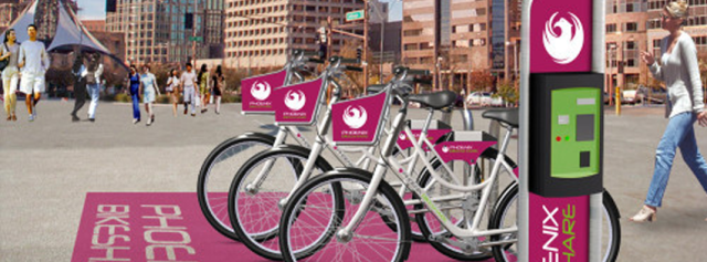 Rendering of the Phoenix bike share system. (Courtesy CycleHop)