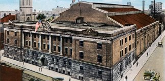 Louisville armory circa 1917 showing long-lost stone eagles keeping watch from its parapet.