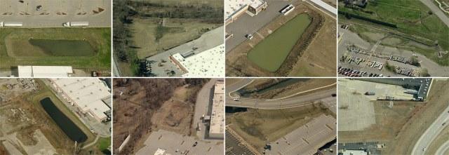 Storm retention basins at 8 Louisville-area Walmart Supercenters. (Courtesy Bing)
