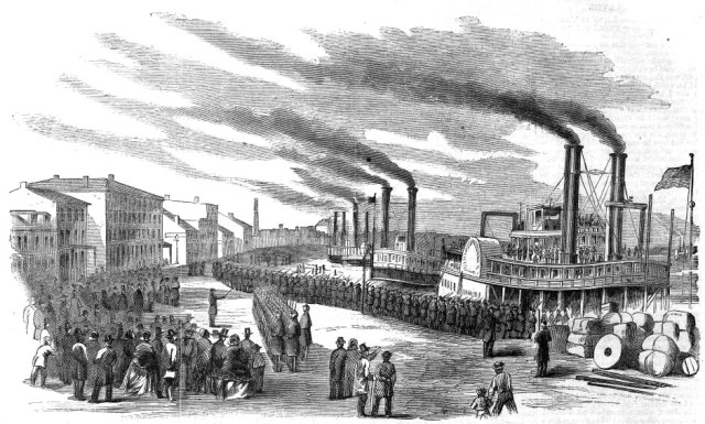 The busy Louisville wharf around the time of the Civil War.  (Courtesy Wikimedia Commons)