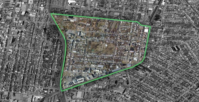 Boundaries of the Shelby Park neighborhood. (Courtesy Bing)