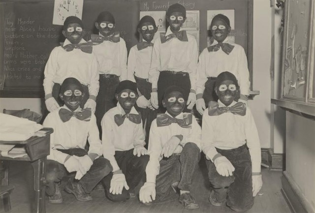 Children preparing for a local minstrel show in the mid-1950s in Edina, Minnesota. The blackface makeup shows the racism that was considered normal at that time. (Courtesy Edina, Minnesota Historical Society)