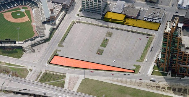 The Waterfront Development Corporation's parcel shown in red, and another WDC-owned site in yellow. (Courtesy Bing)