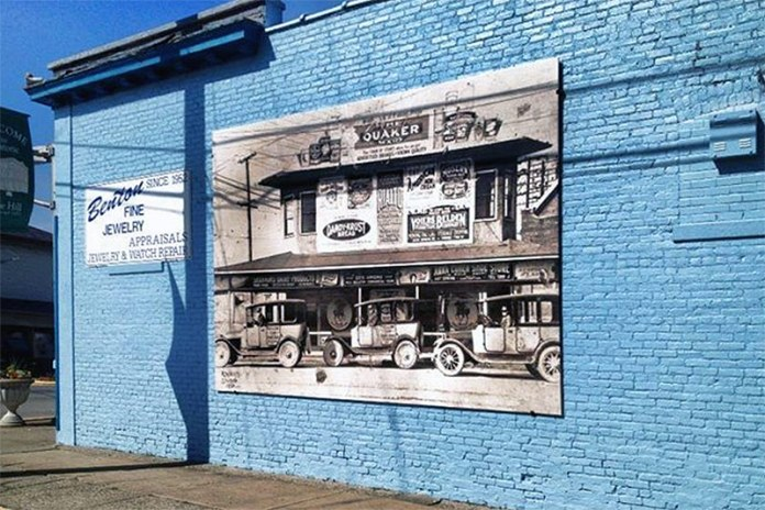 A mural installed on the side of Benton's Jewelry, near the corner of Court Avenue and Pearl Street. (Courtesy Jeffersonville Main Street)