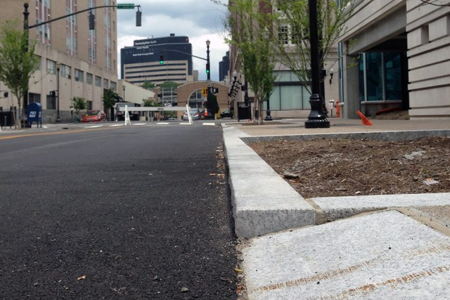 Special curbs were installed to make it easy for food trucks to pull up. (Elijah McKenzie / Broken Sidewalk)