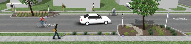 An example of a Neighborway street shows bumpouts to slow traffic with built in rain gardens. (Courtesy NACTO)