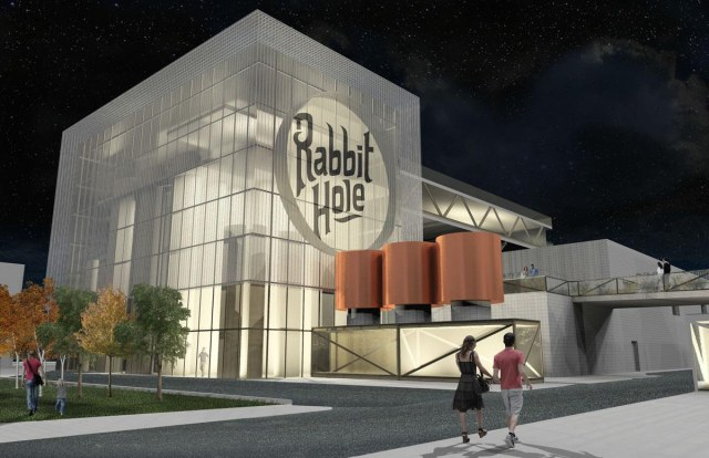 View of the Rabbit Hole distillery from the alley at night. (Courtesy (fer) Studio)