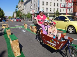A three-day test of a protected bike lane on SW 3rd Avenue in Portland, Oregon. (Greg Raisman / Flickr)