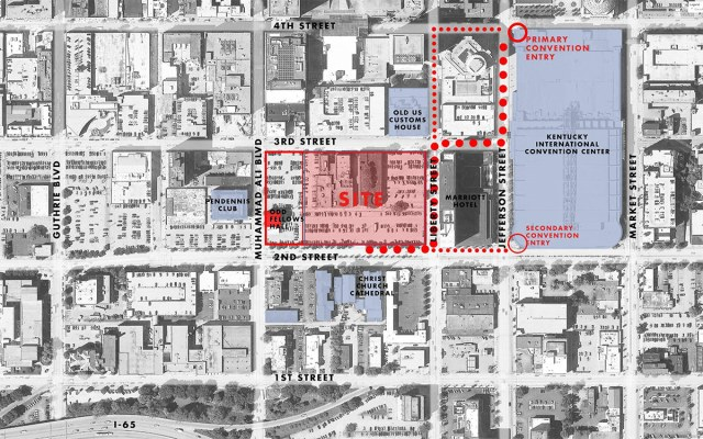 Projected pedestrian routes from the Omni to the convention center. (Courtesy HKS)