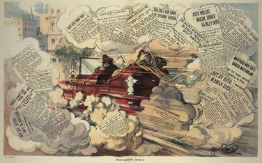 """A cartoon from 1909 """"shows the outrage felt by many Americans that wealthy motorists could hurt others without consequence,"""" according to Collectors Weekly."""