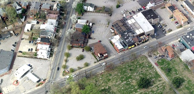 The site forms an acute angle at the intersection of Broadway and Baxter Avenue. (Courtesy Bing)