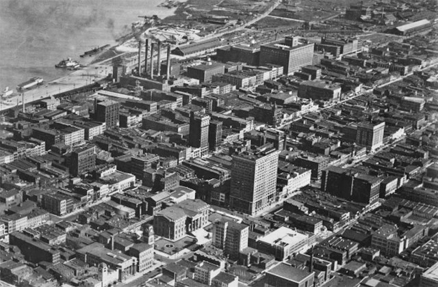 So much has changed in Downtown Louisville in the past century. The Columbia building can be seen in the upper left corner.