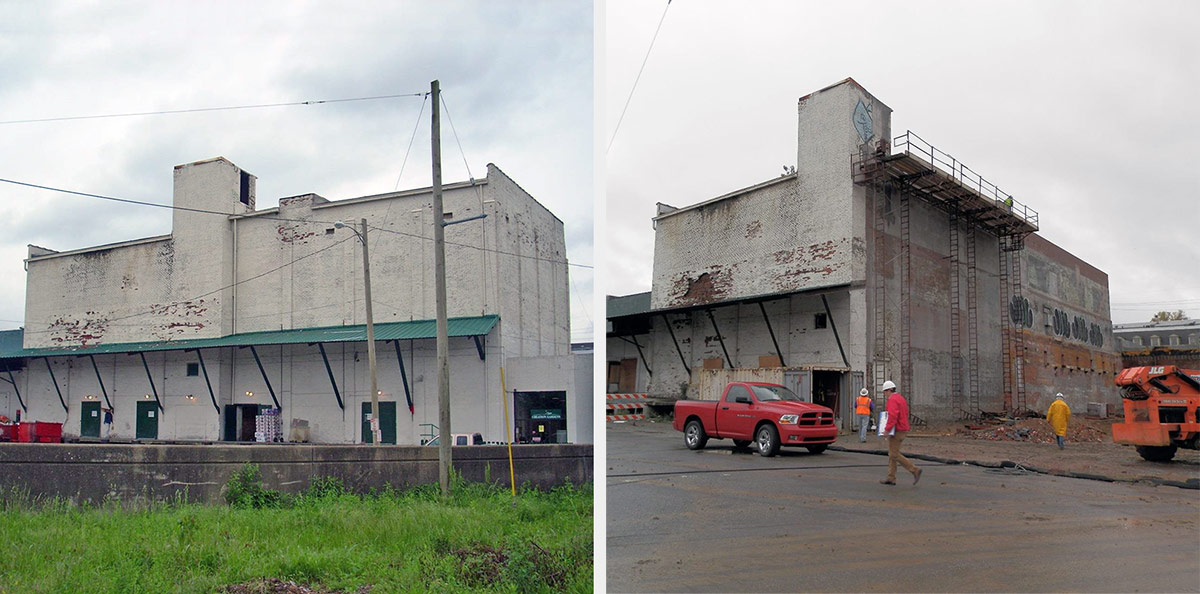 Building Demolition Before And After : This odd looking warehouse survived the highway expansion