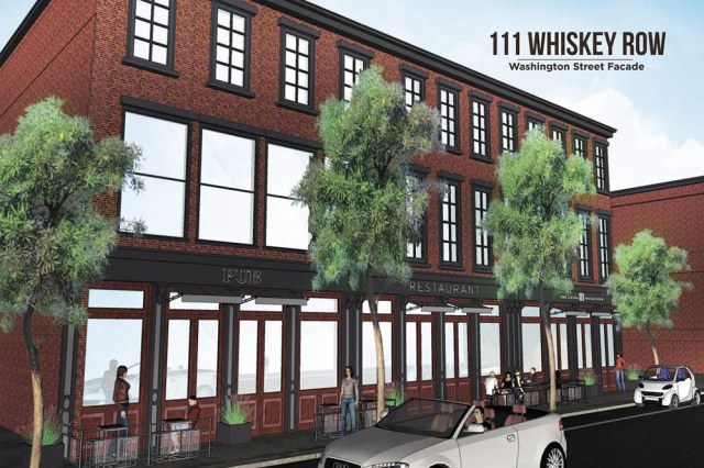 Rendering of the Washington Street side of 111 Whiskey Row. (Courtesy Main Street Revitalization)