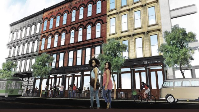 Rendering of the Main Street side of 111 Whiskey Row. (Courtesy Main Street Revitalization)