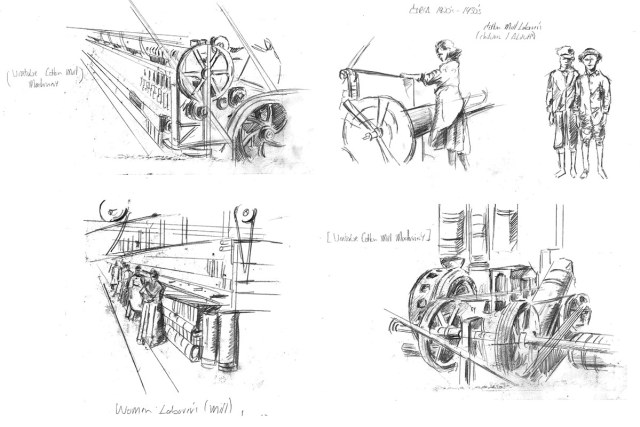 The artist's inspiration sketches for the mural. (Courtesy Three Points)