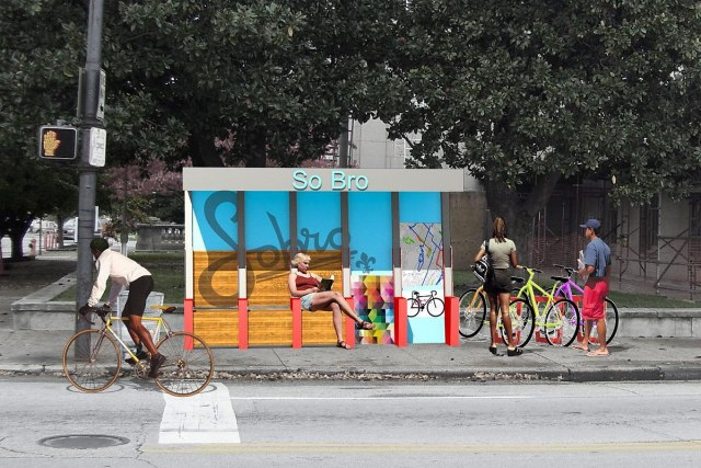 An initial rendering of the SoBro bus stop.
