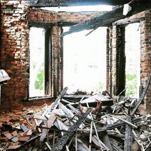 The fire gutted the house's interior. (Courtesy Victorian Louisville)