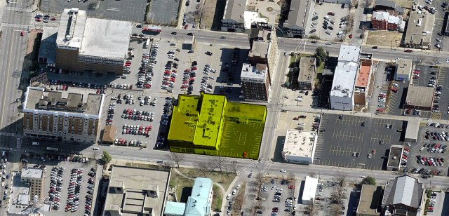 Luckett & Farley's headquarters and their new acquisition along Third Street. (Courtesy Bing Maps; Montage by Broken Sidewalk)